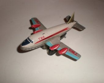 TWA Tin Airplane Japanese Friction Toy Litho Painted Lots of Great Detail Vintage Collectible Man Toy