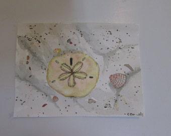 Shells, original watercolor 6 x 8