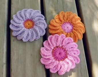 Flower Crochet Pattern Gerbera - Easy beginner - photo tutorial crohet flowers  - Instant DOWNLOAD