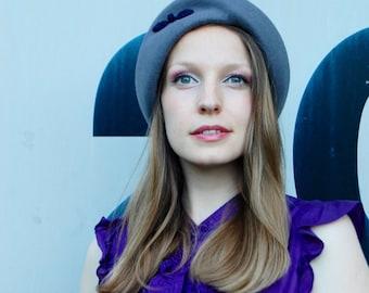 Grey Felt Modern Winter Turban Style Hat