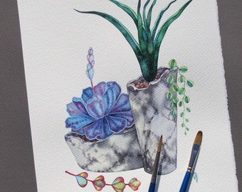 "Succulent Watercolor Painting/ ORIGINAL Painting 8""x10"" by Olena Baca/Succulent Wall Art/Illustration/Gift for friend/Gift for/ Gift for Her"