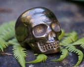 Pyrite Skull, Iron Pyrite Skull, Crystal Skull, Gemstone Skull, Carved Gemstone Skull, Fool's Gold, Rusty Gold
