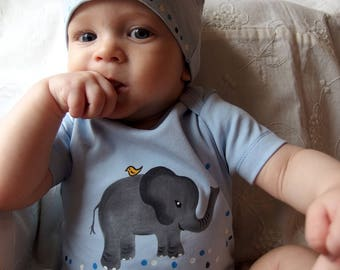 Elephant Light Blue Organic Cotton baby bodysuits and matching hat clothing sets