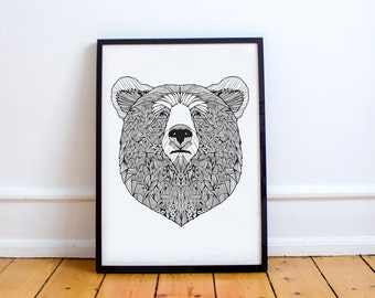 A1 / A2 Bear Print | Bear Drawing