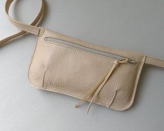 Hip pouch / fanny pack / hip bag - nude leather & ecru zipper
