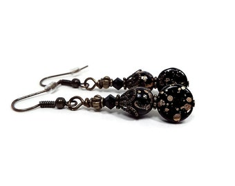 Black and Gold Earrings Crystals and Czech Glass Beaded Drop Dangle Antiqued Brass