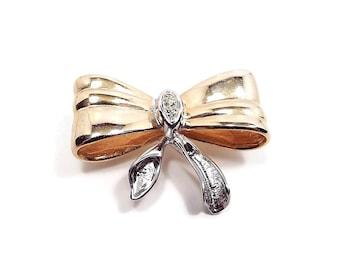 Vintage Rhinestone Bow Brooch Two Tone Retro Metal Jewelry Holiday Fashion