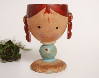 Chippy Paint Antique Wooden Egg Cup - Girl