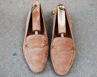 Vintage Womens 7b Unisa Brazilian Handmade Suede Leather Tan Brown Spring Fashion Slipons Loafer Loafer Oxfords Boho Hippie Natural Stitch