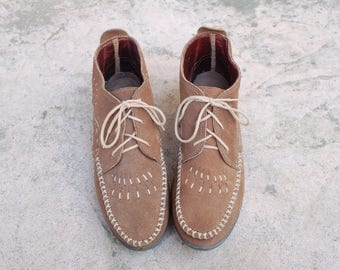 Vintage Womens 11 Minnetonka Lace Up Leather Hightop Moccasins Moccasin Loafers Woven Braided Hippie Boho