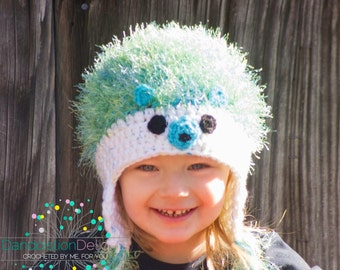 "Hedgehog Earflap Hat, Custom Order, Baby, Toddler, Child, Teen, Adult, and 18"" Doll Sizes, Hedgehog Beanie, Woodland Creatures, Fun Winter"