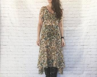 Vintage 90s Does 20s Sheer Flutter Sleeve Flounced Midi Dress Silk Floral Open Back S