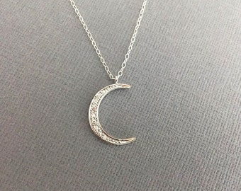 Star Necklace, Silver Star and MoonJewelry,Sterling Silver Moon Necklace, Dainty Necklace,Moon and Star Jewelry,Crescent Moon