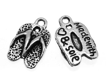 Silver Charms : 10 Antique Silver Flip Flop Charms / Silver Sandal Made with Heart & Sole Pendants -- Lead, Nickel, Cadmium Free 04355.B18