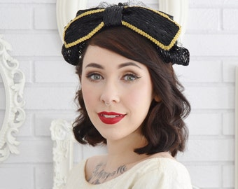 Vintage 1960s Black Raffia Headband Hat with Gold Trim and Black Netting Union-Made
