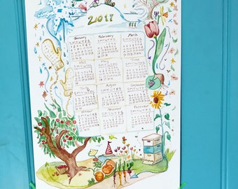 2017 One Page Calendar, Through Out the Seasons, by Abigail Gray Swartz