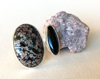 Silver Double Ring, Flower Obsidian, Onyx , size 10 1/2 , unique handmade gift, ready to ship