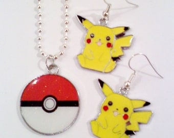 Pokemon Necklace and Earring Set- PIKACHU with Pokeball