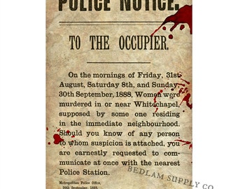 Jack the Ripper Police Notice 11x17 Print