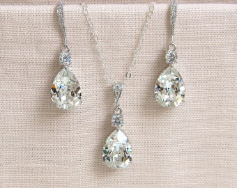 Crystal Pendant Necklace SET Earrings Bridal jewelry Sterling silver, Sparkly Wedding Jewelry, Bridesmaids Jewelry, Crystal Drop SET