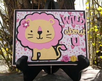 Wild About You Lion Valentine Card