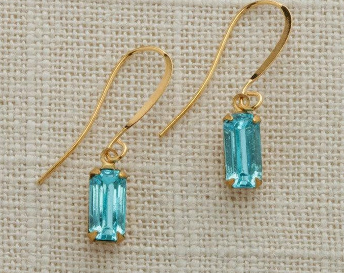 Turquoise & Gold French Hook Earrings Emerald Cut Stone Aqua Blue Rhinestone Wedding Earrings Bridesmaid Gift Handcrafted 10mm 6H