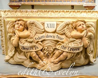 AMAZING Antique Church Architectural Salvage Corbel, Shelf, Cherubs, 13th Station of the Cross, 1800s