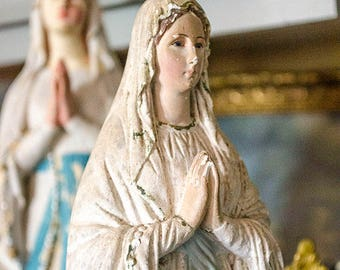 Antique FRENCH Our Lady of Lourdes Statue, from France, Signed