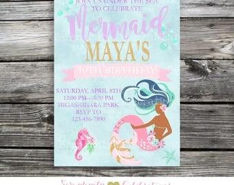 Mermaid Invitation, Mermaid Birthday Invitation, Mermaid Party, Mermaid Baby Shower Invite, Under the Sea, Mermaid Invitation, Bridal Shower
