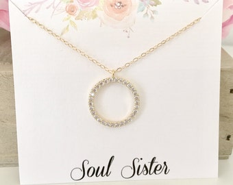 Soul Sister Necklace, Soul Sister Gift, Best Friend Gift, Best Friend Necklace, BFF Gift, Gold Necklace, CZ Necklace, best selling item
