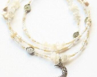 Moonstone Waist Beads, Crescent Moon-Moonstone Waist Beads, White Belly Chain, Moon Belly Beads, Goddess Waist Beads