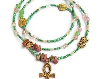 African Waist Beads, Womb Wellness Waist Beads, Egyptian Fertility Unakite  Waist Beads, Ankh Belly Beads, Ankh Belly Chain