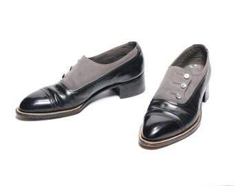 vintage 50s Edwardian style shoes button flap spat style Stetson Shoe black leather gray suede two tone 7.5 A/C narrow men size 7.5