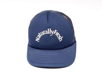 vintage 80s Naturally Fresh hat trucker hat navy blue mesh snapback cap hip hop street style def dope 1980 rap hip hop one size