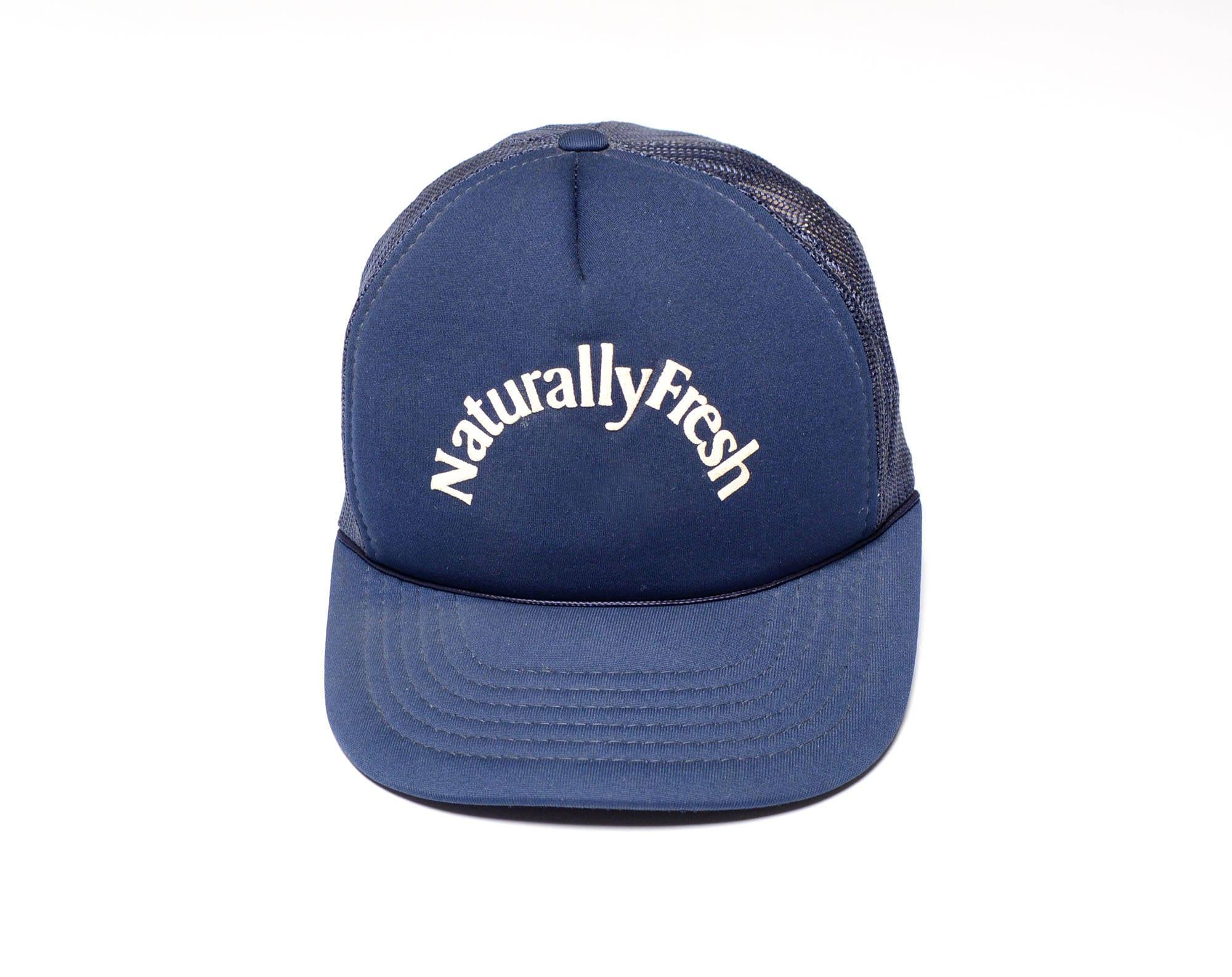 3dd32bec2d5 vintage 80s Naturally Fresh hat trucker hat navy blue mesh snapback cap hip  hop street style