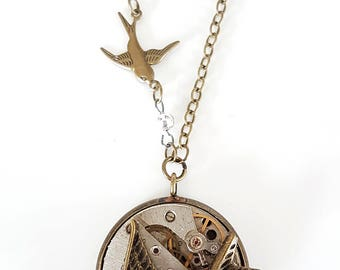 Swooping Birds & Vintage Watch Movement - Steampunk Inspired Pendant