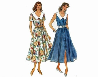 Easy Spring Dress with Collar Romantic flare skirt Uncut sewing pattern Sizes 6 8 10 12 14 16 Simplicity 8250