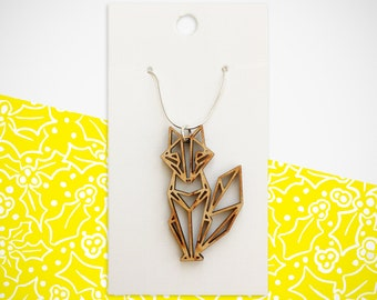 Wooden Origami Fox Necklace. Perfect for ALL occasions. Birthday. Christmas. Anniversary