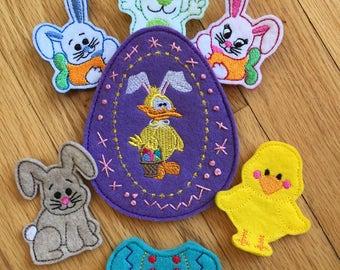Felt Finger Puppets, Easter Finger Puppets, Bunnies and chick finger puppets