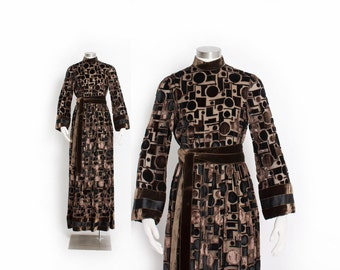 Vintage GEOFFREY BENNE Dress - 70s Brown Silk Velvet Burnout Evening Gown - Medium / Small