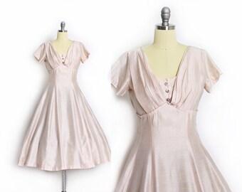 Vintage 1950s Dress - Pink Silk Full Skirt Party Prom Wedding Rhinestone Gown 50s - Medium