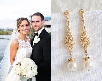 Gold Wedding Bridal Earrings, Crystal Bridal Earrings, Swarovski Pearl Drop Dangle Earrings, Old Hollywood Wedding Bridal Jewelry, TRISSIE