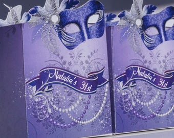 Mardi Gras party, Masquerade Party Favors, Mardi Gras Party boxes, Masquerade Purple Box Favors. Mardi Gras party favors, Sets of 24
