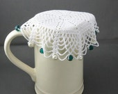 White Crochet Beaded Jug Cover with Sea Green Beads, Beaded Glass Cover, Bowl Cover, Milk Jug Cover,Creamer Cover, Beaded Doily, Food Cover