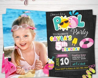 GIRL Pool Party Birthday Photo Invitation, Swimming Party, Summer Party, ANY Birthday-Customized Download OR Prints-Details Below