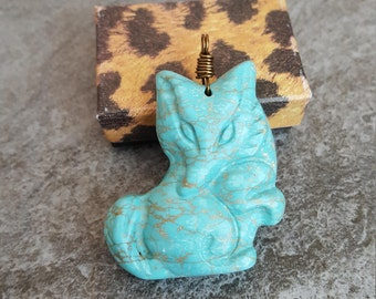 Clearance Sale ! Fox Necklace - Blue Turquoise Carved Gemstone Fox Pendant, Silver Plated Chain, Jingsbeadingworld, Inspired by Nature