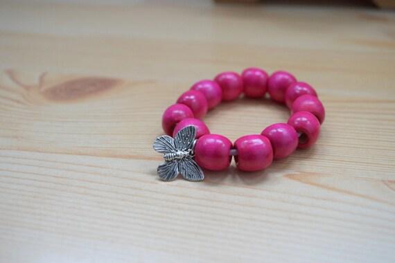 Butterfly bracelet,girls bracelet,kids bracelet,colorful bracelet,wood bracelet,beaded bracelet,kids jewelry,girl jewelry,wooden bracelet