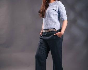 Blue Culottes, Wide leg Pants, navy pants,  Ankle-Length Culotte Pants, Embellished Pants, Women's Pants, Upcycled pants, Elegant pants