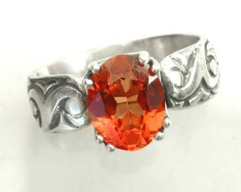 Orange Sapphire Ring, Engraved Sterling, Padparadscha Sapphire, Pantone Color Flame, Handmade Ring, Wide Band, Alternative Wedding Ring