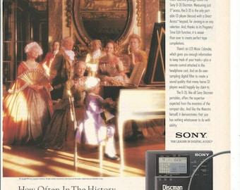 1990 Advertisement Sony Discman Mozart Portable CD Player Disc Man D35 90s Music Audio Digital Electronics Wall Art Decor